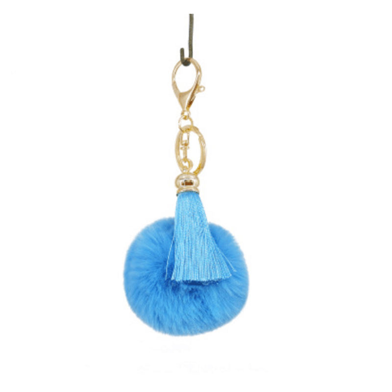 Rabbit Fur Keychain Ball Pom Pom Fur Keychain Highly Genuine Tassel Fur Pom Poms Keychain Trinket 8cm Fur Ball Key Chain
