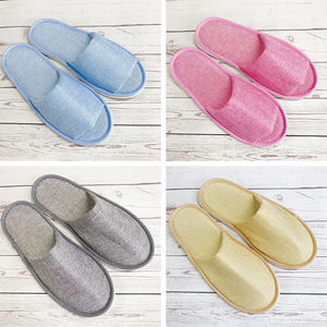 Wholesale disposable eva sole flax guest bathroom hotel spa slippers