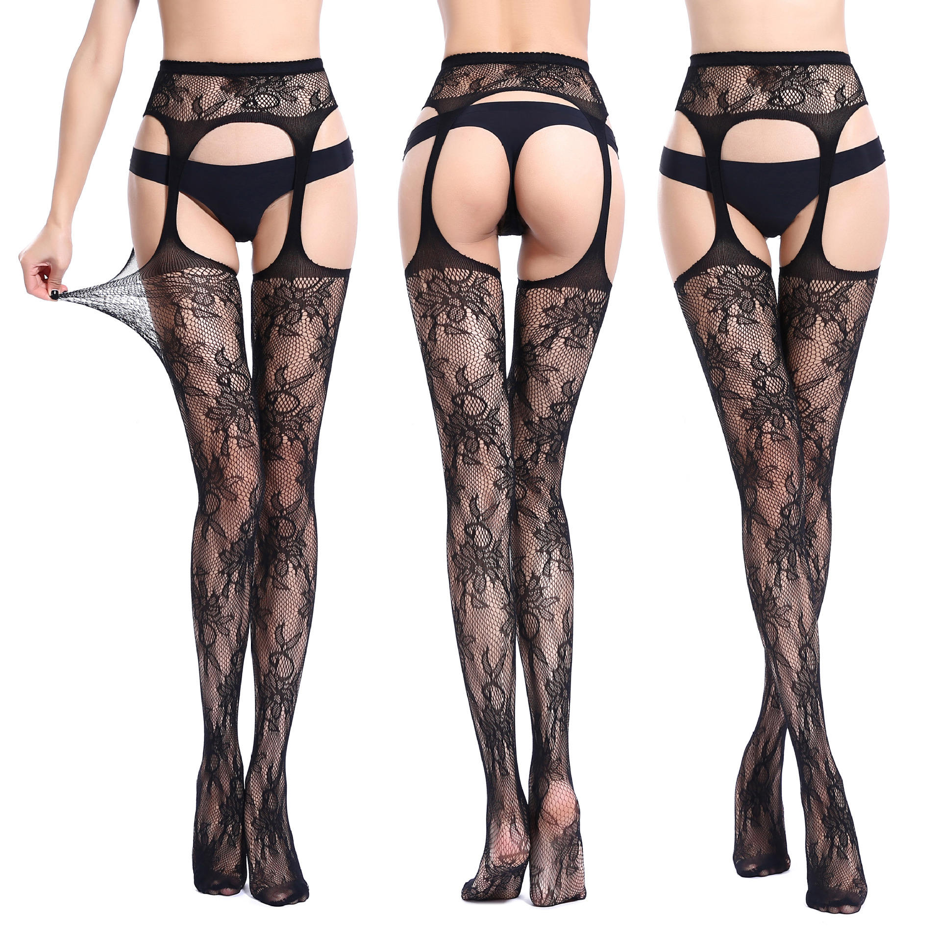 Women's Fishnet Suspender Cuban Heel Backseam Thigh High Top Stockings Black Hollow Out Floral Garter Belt Hosiery Pantyhose