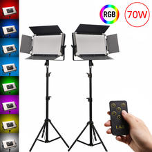 2 Pack 70W RGB LED Video Lights, Remote Control Photography Lighting 200K-5600K Video Lighting Kit  for Studio Youtube Video