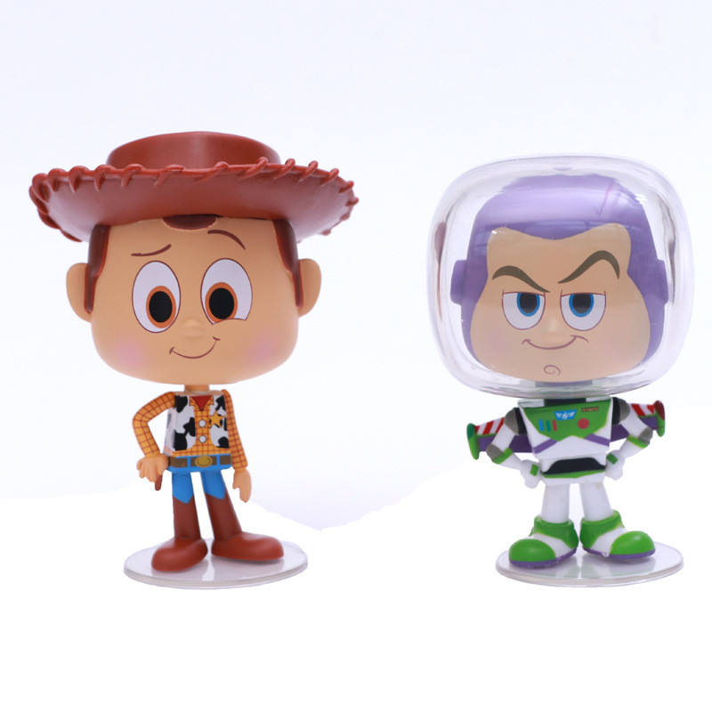 Moving Story of Toys Character Cowboy Woody Buzz Action Figure Ball Joint Doll Small Size with Gift Box Packaging for Kids Gift