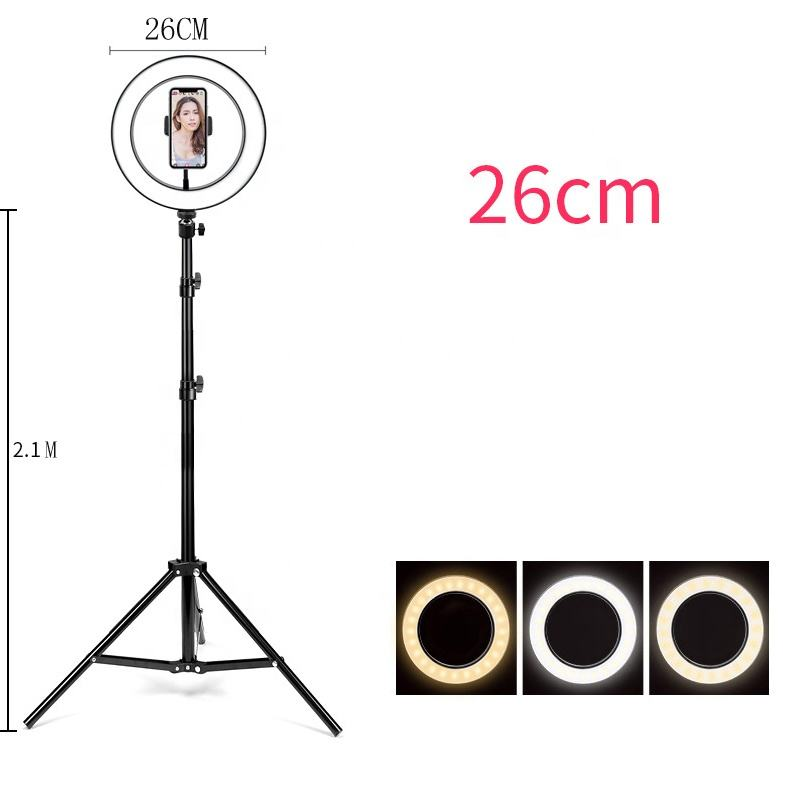 26 CM LED Ring Light Photography Kit Photo Studio Camera Light Makeup Video Selfie Fill Lamp with Phone Clip Holder & Tripod