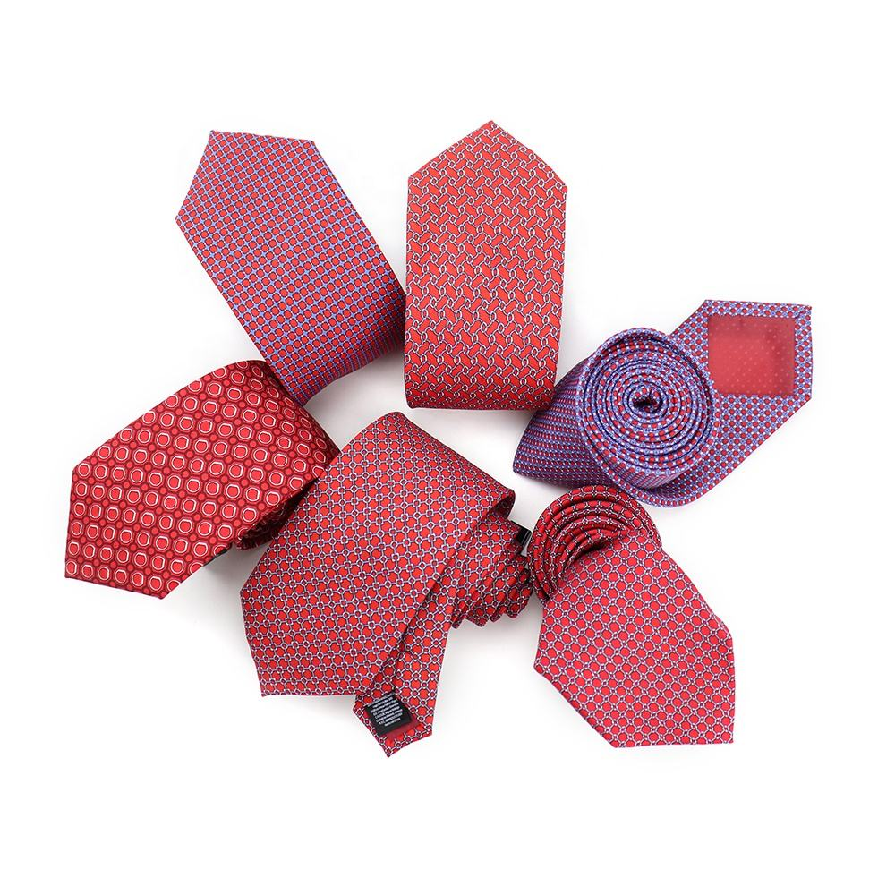 XINLI Six Options Checkered Custom Red Tie Colorful Silk Geometric Printed Neckties Wholesale Mens Neck Ties for Wedding Suit
