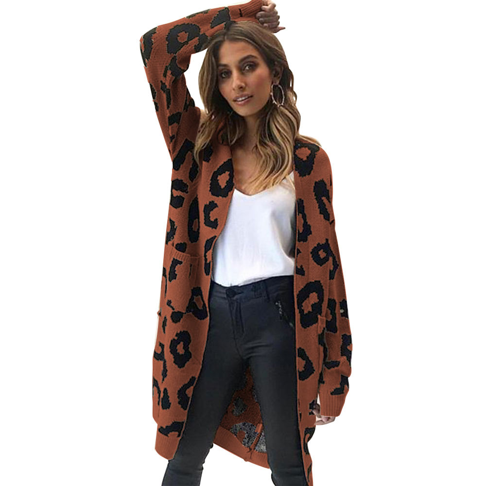 Autumn Winter Christmas Leopard Print Knitted Long Cardigan Women 2020 Casual Style Open Pocket Sweater Tops Outwear