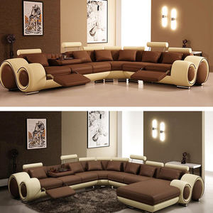 Foshan l shape genuine leather sofa set with 3 seater