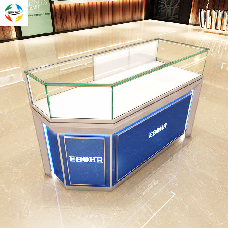 Blue Style LED Light Sliding Door Tempered Glass Interior Design Display Counter Silver Jewelry Shop Corner Showcase