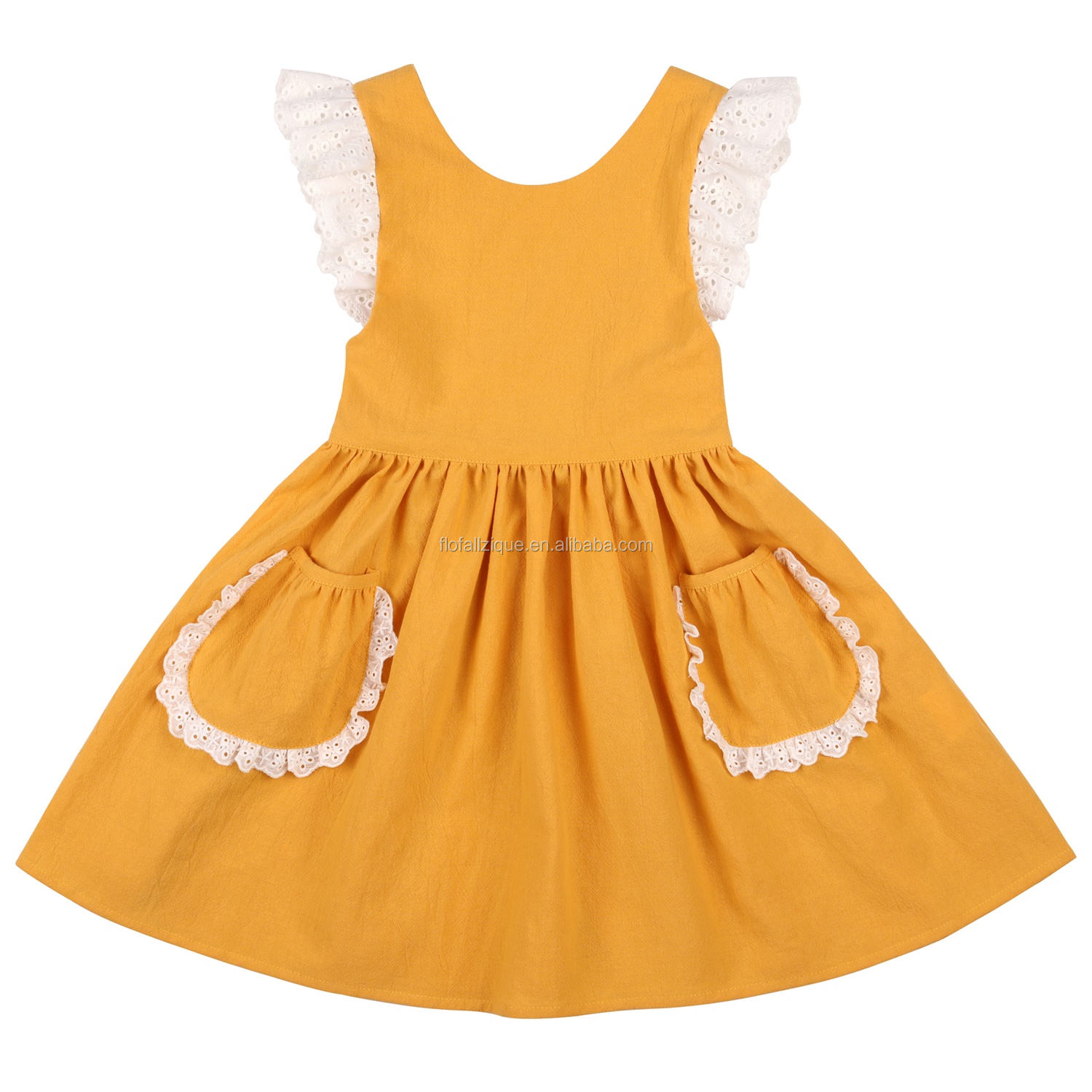 Rts Modern Dress Baby Gowns Holiday Fancy Yellowv Dress For Girls Mustard Dresses