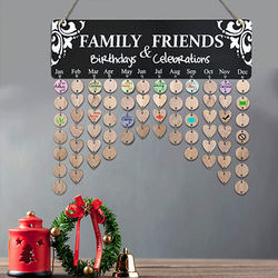 The wooden family calendar reminds of the calendar the anniversary of the event and the tag hang on the wall of the home class