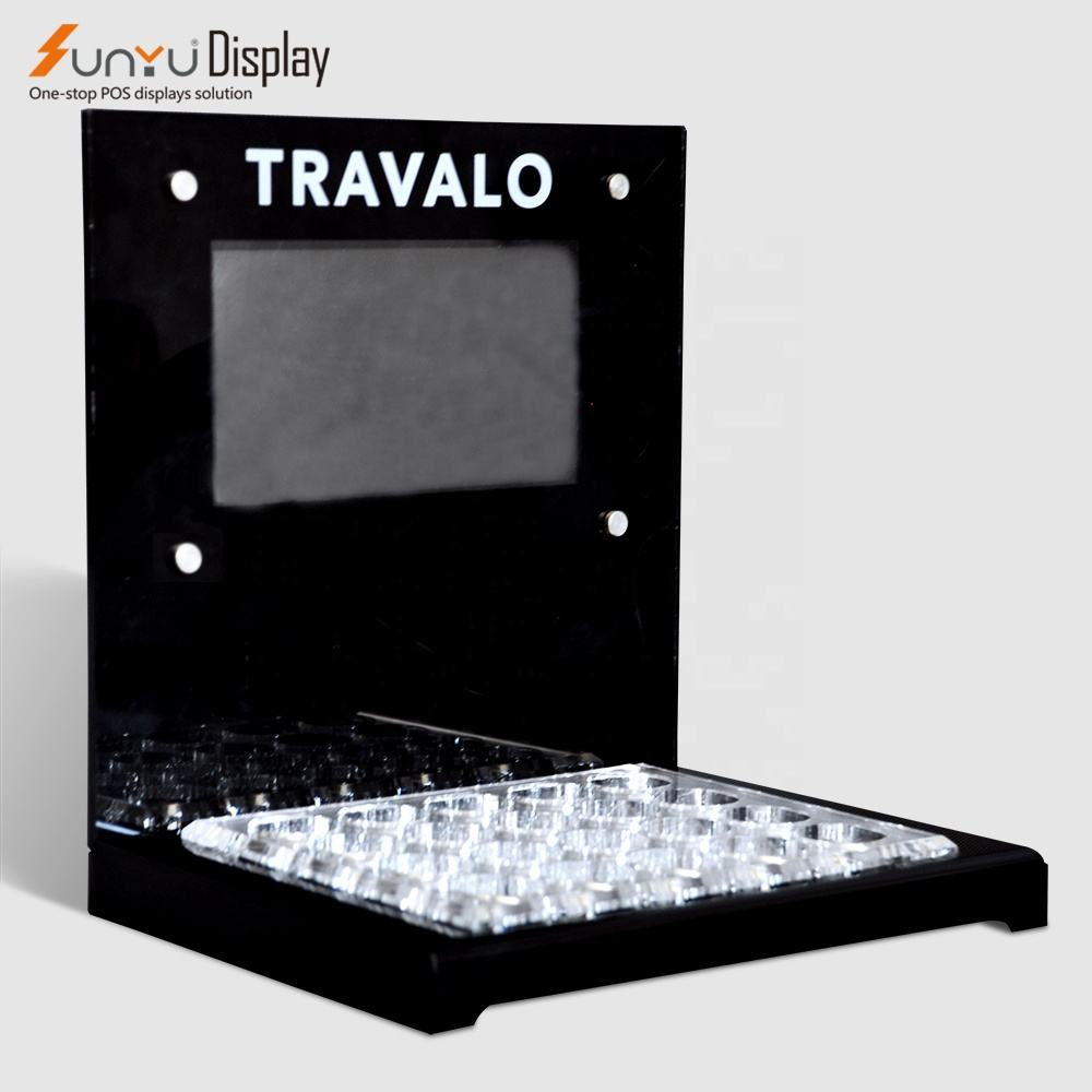 acrylic perfume display stand with lcd screen