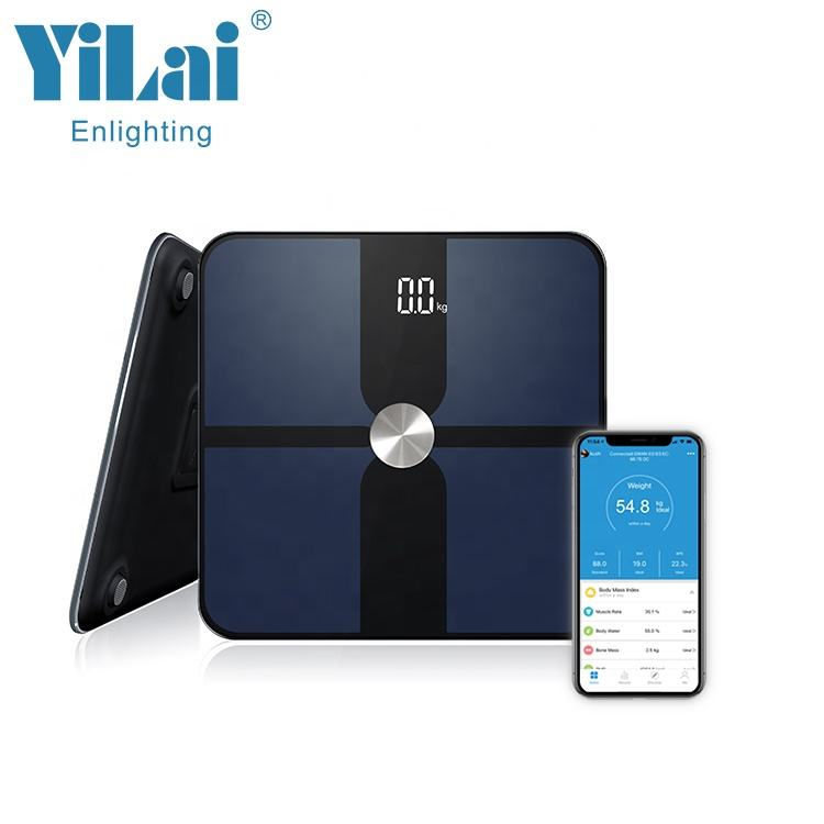 LED display bluetooth body fat scale with ITO glass bluetooth body fat portable balance bathroom bmi weighing scale