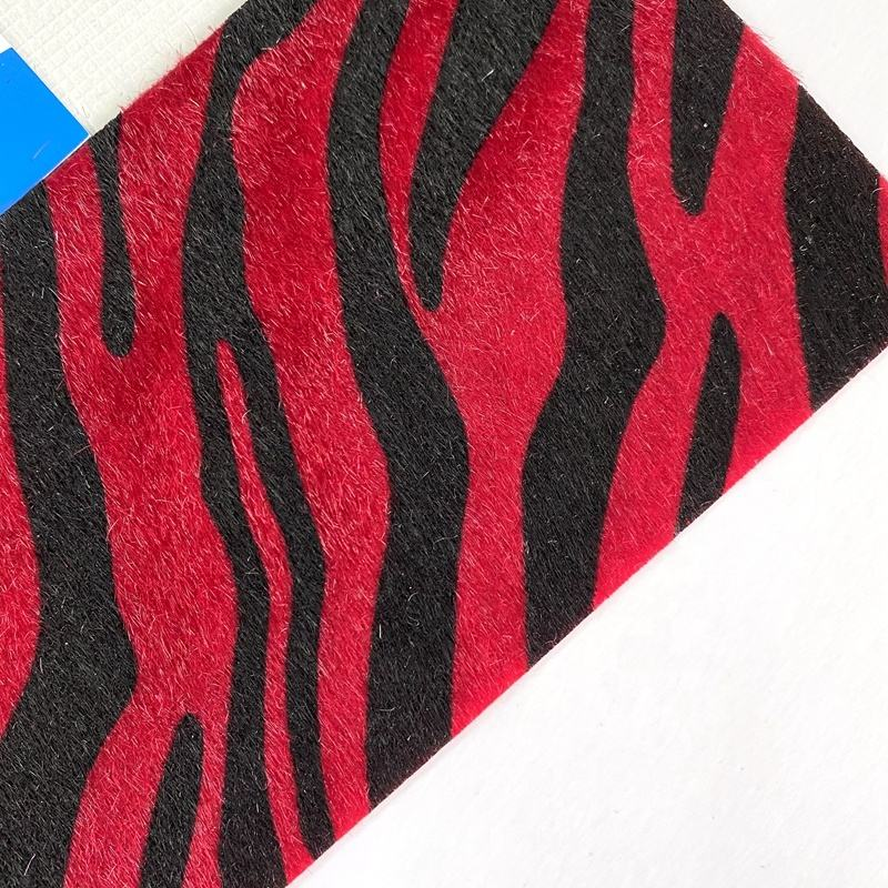 Backing and surface same color suede PU artificial leather fabric fake fur leather surface printing zebra