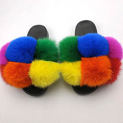 Fur Ball Slides Big Women Slippers Fur Slides 2020