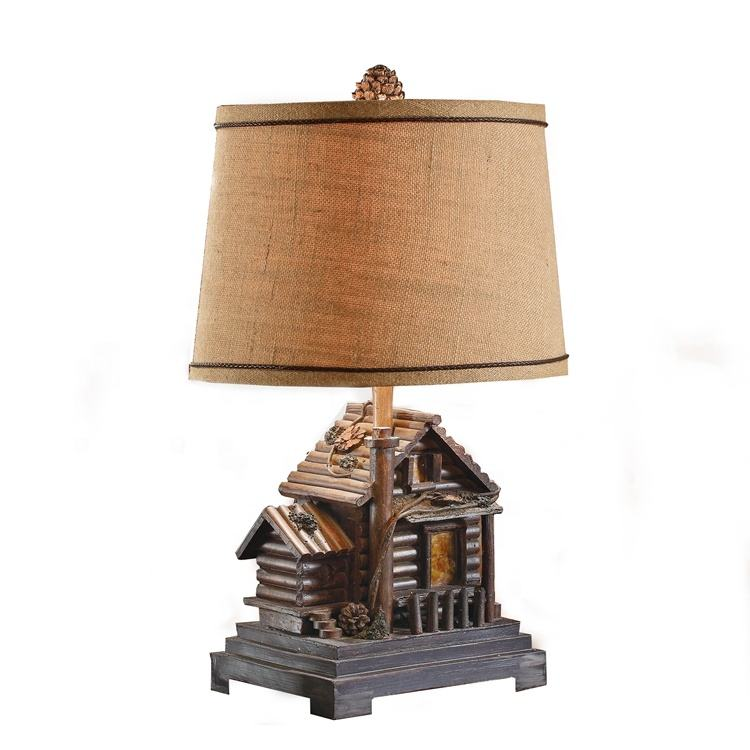 wholesale home bedroom small decorative accent resin cabin design bed side table lamps