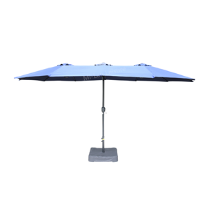 4.5M/15ft Outdoor Multi-Color Large Sun Patio Garden Double Side Umbrella With Cross Base
