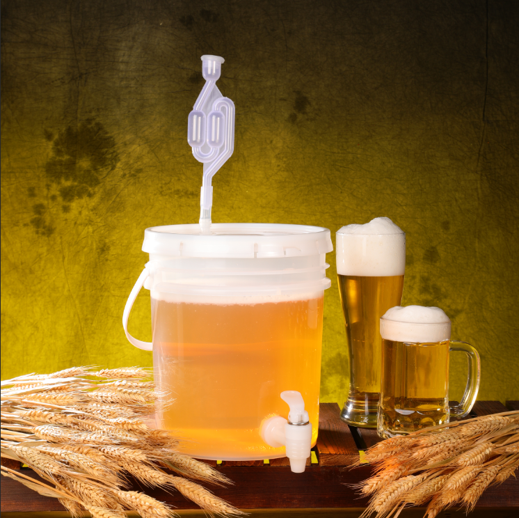 Automatic Fermentation Bucket Exhaust Home Fruit Beer Enzymes Container With 2 Lids Plastic Fermenter