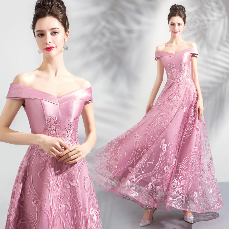 Evening Dresses Pink Embroidery Flowers Shiny Crystal Party Dress A Line Long Fomal Gowns Off Shoulder Women Elegant Dress