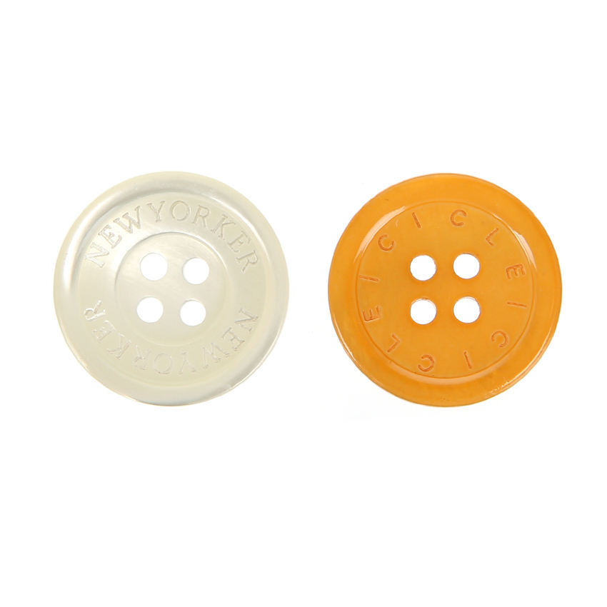 White Yellow Real Shell Round 4H Button with rim Engraving Custom LOGO 32L 20mm Project Blazer Coat Sewing Fastener