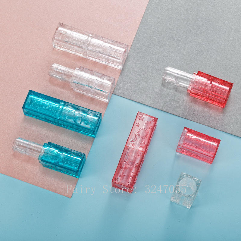 blue red star moon transparent square 12.1mm empty lipstick tube lip balm container cosmetics refillable shell