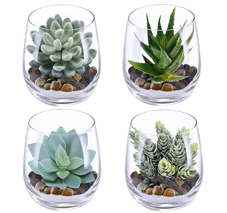 4 Set Artificial Faked Succulent Plants Echeveria Terrarium Glass Containers Decorations Clear