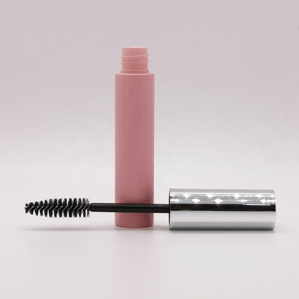 10ML Capacity Round Shape Mascara Tube Cosmetics Makeup Packaging Container Applicator Silver Cap with Pink Bottle