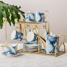 Elegant coffee ware 15 pieces new bone China coffee 6 cups saucers tea pot blue marble ceramic tea set
