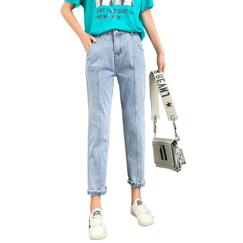 Women high-waist jeans featuring a straight leg with front pleated detail.