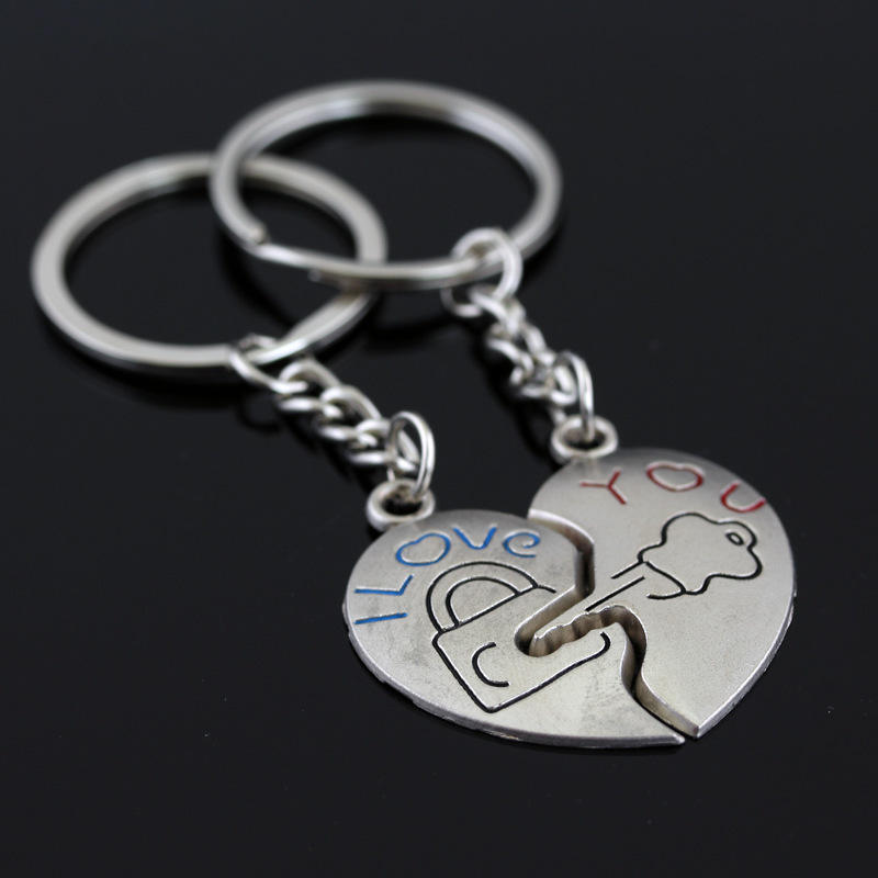 New Couple I LOVE U Heart Shaped Keychain Lock Key Engraved Keyring Lovers