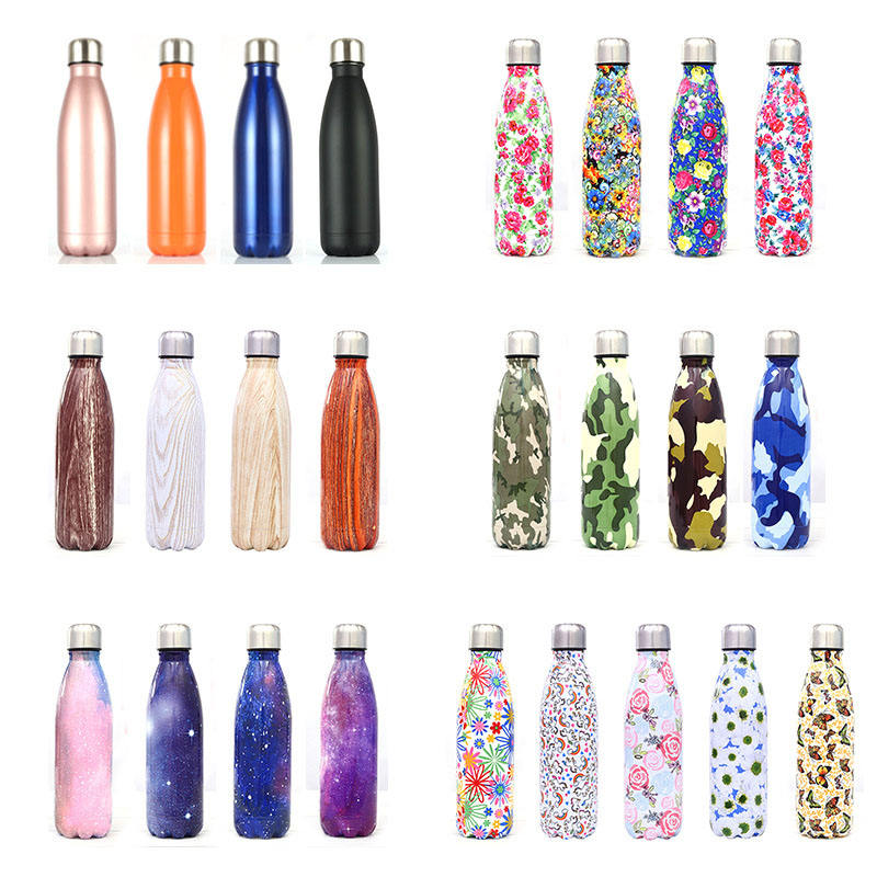 Feiyou custom logo swelling bottle double walled vacuum insulated stainless steel water bottle cola shaped water bottle