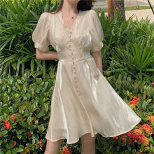 2020 summer Korean style women's dress  French V-neck dress bubble sleeve skirt milk silky texture shell pearl fashion dress