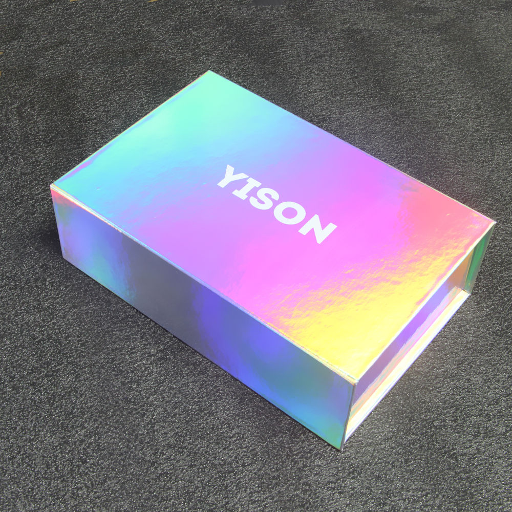 Custom Luxury Shipping Mailing Mailer Paper Lashes eyelash Magnetic Gift Holographic Rainbow Box Packaging Holographic Box
