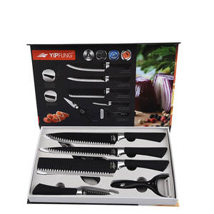 Kitchen Accessories gift box packing 1.2-1.5mm 6pcs Non-stick coating Blade Stainless Steel Kitchen Knives Set