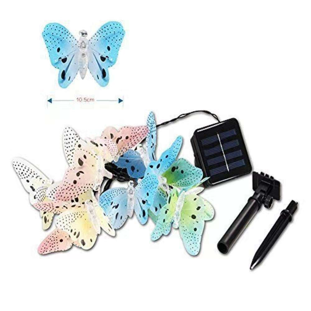 Solar String Lights Garden 12 LED Butterfly Shape Solar Powered Lights for Outdoor Gardens Patio Wedding Homes Party Decoration