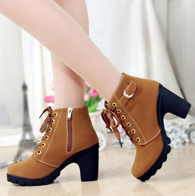 Winter spring boot woman ankle boots Lace-up Ladies high heel feman shoes vintage women boots
