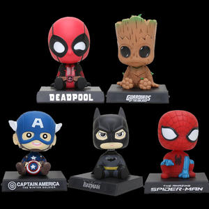 Capitão América Spiderman Bebê Guardians Of The Galaxy Árvore Homens Adorável Car Titular Presentes Action figure Anime Estatueta Cabeça Bobble