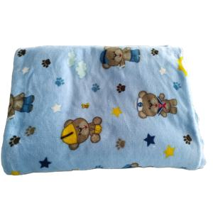 Shaoxing factory polyester double side flannel fabric print bear paw cartoon for blanket