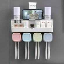 luxury home bathroom accessories plastic toothpaste dispenser&toothbrush holder with 4 cups