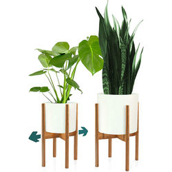Simple Plant Stand Indoor Outdoor Garden Balcony Decoration Brown Bamboo Adjustable Flower Stand