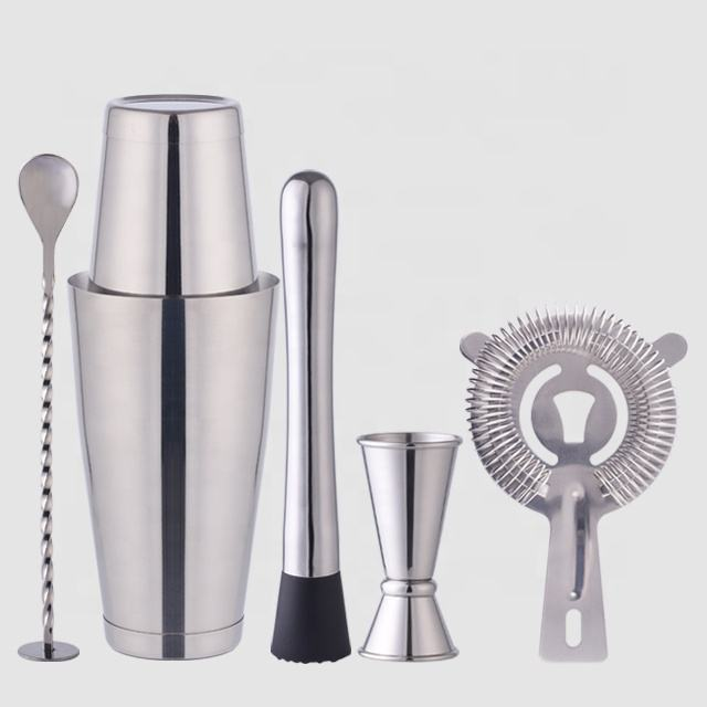 Factory Direct 800ml stainless steel shaker boston cocktail gift barware tool set