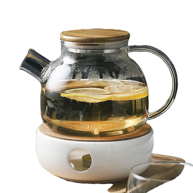 1000 ML Clear Borosilicate Glass Tea Pot Set, Heat Resistant Clear Glass Teapot Bamboo Lid with Ceramic Tea Warmer