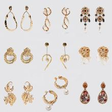 Kaimei ZA Elegant Imitation Pearl Gold Leaf Drop Earrings For Women Ethnic Colorful Crystal Statement Earrings Jewelry Gifts