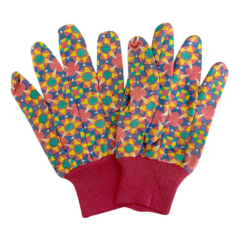 C4804 Farming Gardening Work Flower Pattern Cotton Gloves