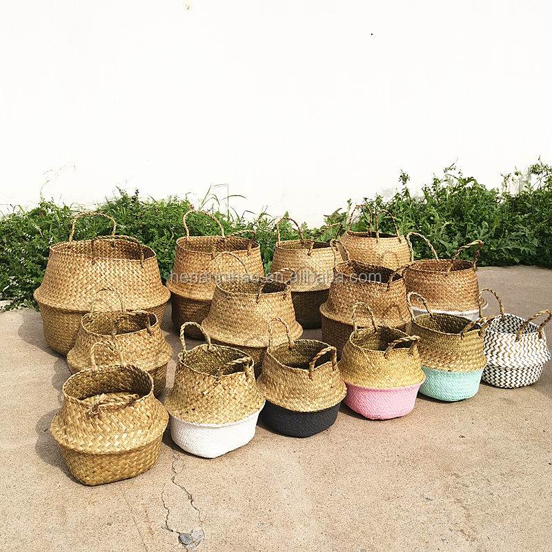 Amazon hot sale Handmade Woven Rattan Seagrass Tote Belly Basket,Boho baksets Planter Pots Cover outdoor Decorative