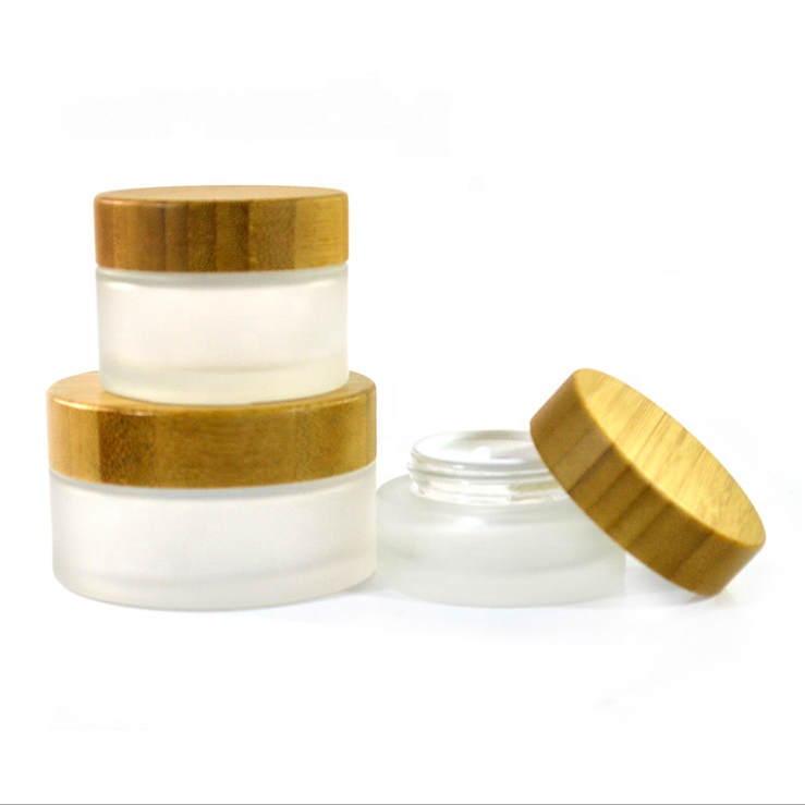 High Quality Glass Jar with Bamboo Cap 50g 100g 200g Cream Jar Clear and Frosted Glass Cream Jar
