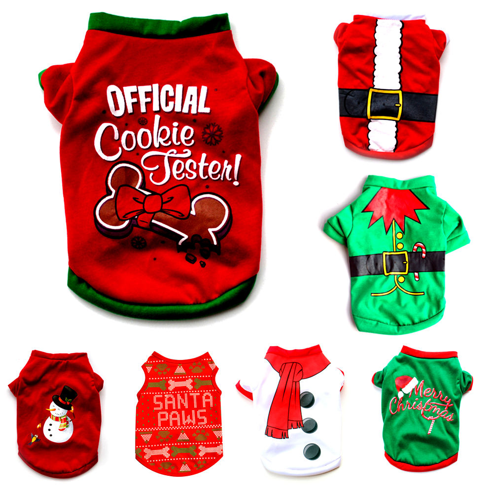 1 Pet Dog Clothes Christmas Costume Cute Cartoon Clothes For Small Dog Cloth Costume Dress Xmas apparel for Kitty Dogs