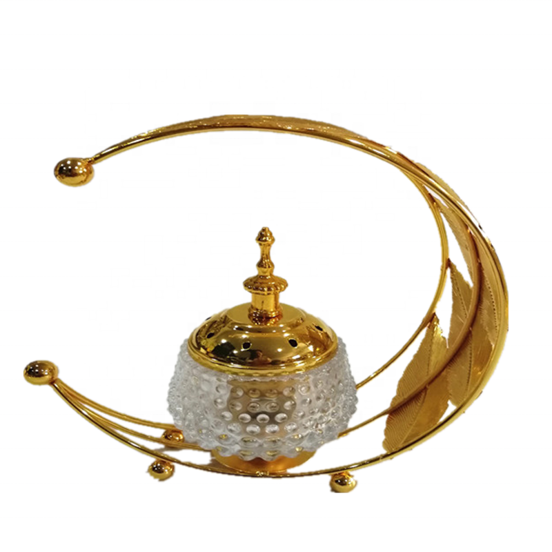 2020 Factory Charcoal Bakhoor Bukhoor Mubkhar Arabic Censer Origin Metal Glass Ramadan Aloes Gold Incense Burner with Handle
