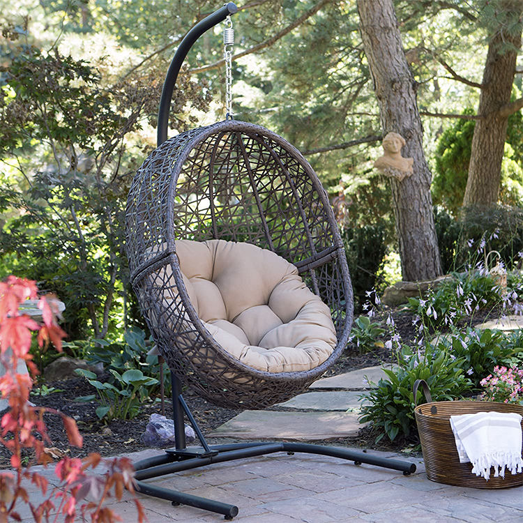 Grey KD Online Selling Rattan Hanging Swing Egg Chair 2020 New Wicker Garden Furniture Outdoor Chair