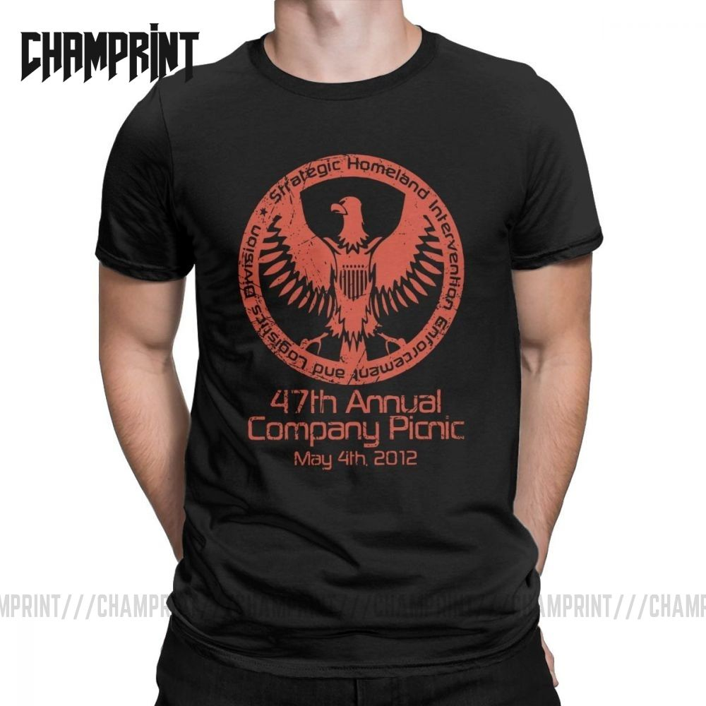 Men's Agents Of Shield 2012 Company Picnic T Shirts Pure Cotton Clothing Vintage O Neck Tee Shirt Summer T-Shirts Plus Size
