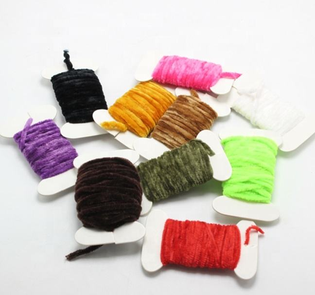 10 Colors Fly Fishing Worms Chenille Floss Line Thread Woolly Fly Tying Materials
