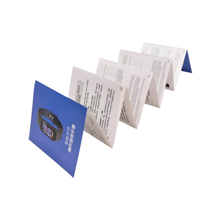 Custom paper printed instruction folding leaflet die cut brochure manual