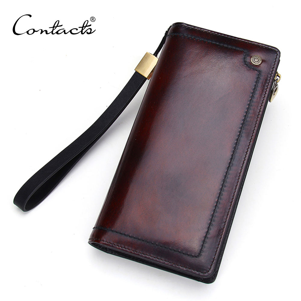 Contact 2020 wallet factory direct sale Dropshipping Burnished Leather Bifold Clutch Wallet with Phone Case